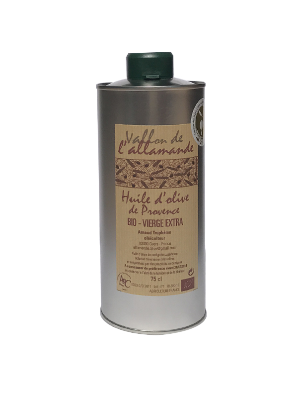 Huile olive extra vierge aoc provence bio 75 cl vente for Huile d olive salon de provence