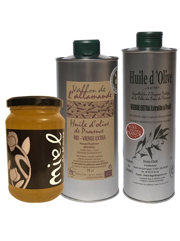 coffret-huile-olive-Fruite-Vert-AOP-BIO-Miel-france