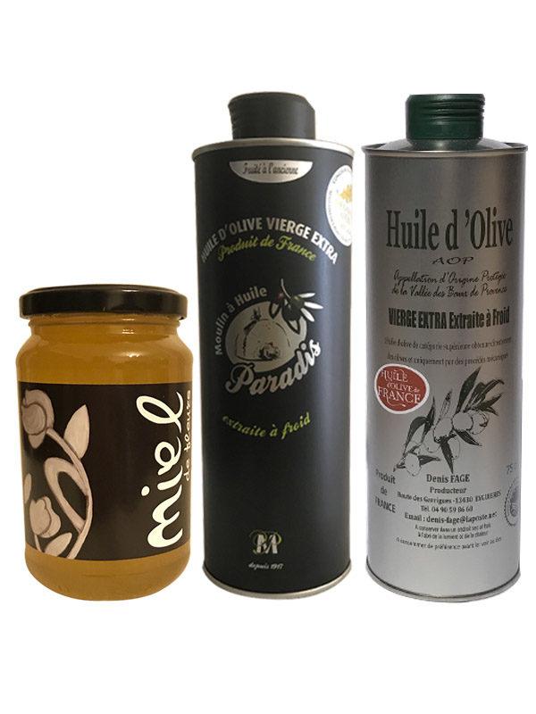 coffret-huile-olive-Fruite-Vert-Ancienne-Miel-france